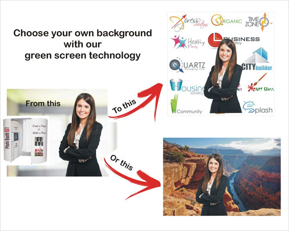 Green screen technology photo booths